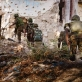 AMISOM soldiers advance through ruined buildings in the Sigaale District of Mogadishu. Kate Holt.