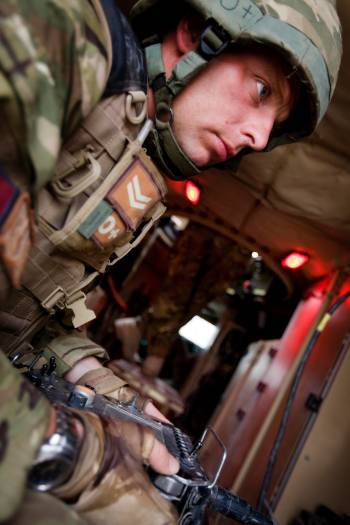 SAC Tech Tim Latchford (5131 BD Sqn of the RAF), uses a remote control device. Kate Holt.