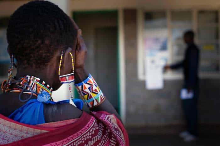 50 year old Seleiya Makoi From Emaari town, has her eyesight tested at the Orinie Dispensary. Kate Holt.