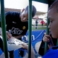 Fraizer Campbell, from Manchester United signs autographs after a training session. Kate Holt.