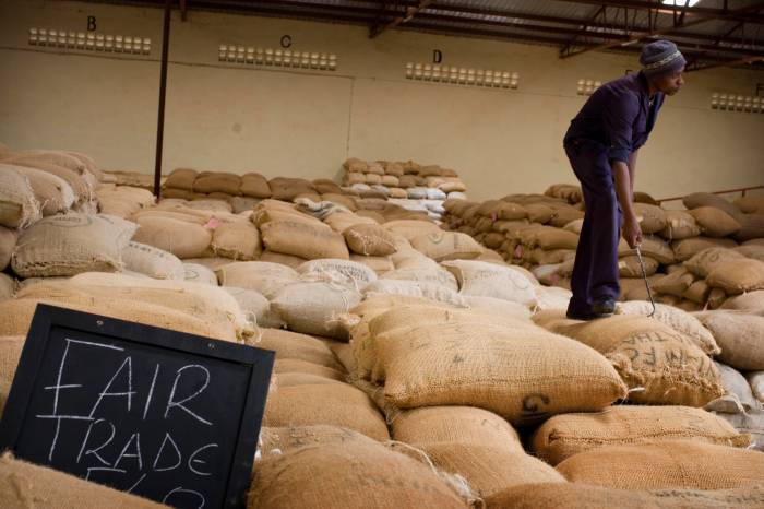 Fairtrade coffee is carefully labelled before and after it is ground. Kate Holt.