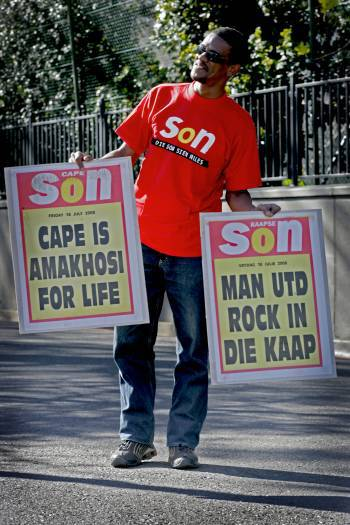 The Cape Sun newspaper advertises the arrival of Manchester United to Cape Town. Kate Holt.