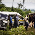 Scenes illustrate the sites of road traffic crashes involving mini buses, the main means of public transport for most Kenyans. Kate Holt.