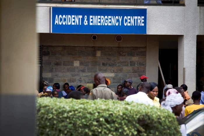A sign shows the entrance of an accident and emergency unit at a hospital in Western Kenya in June, 2012. Kate Holt.