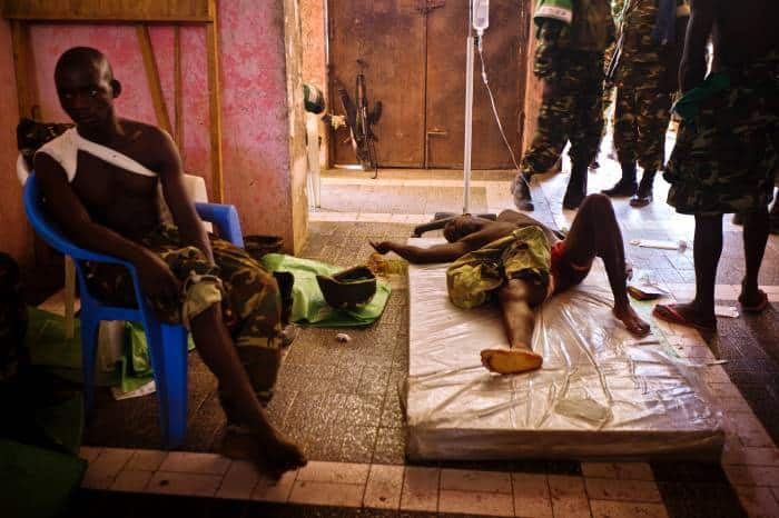 A Burundian peace-keeper, injured in gun battle between African Union Soldiers and al-Shabaab insurgents. Kate Holt.