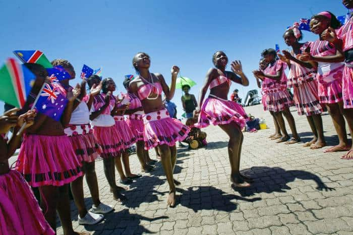 Young girls perform a dance for Quentin Bryce AC, Governor General of Australia. Kate Holt.