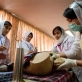 Midwife Trainees practise their skills in a practical lesson at the Midwifery Training College. Kate Holt.