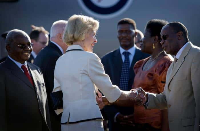 Quentin Bryce, the Governor General of Australia greets dignitaries upon her arrival in Maputo. Kate Holt.