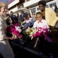Quentin Bryce, the Governor General of Australia accepts some flowers from school children. Kate Holt.
