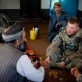 Staff Sgt Donny Kuehner from 2-508 of the 82nd Airborne Division of the US Army has tea with Haji Jhapor. Kate Holt.