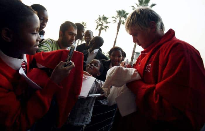 Tomasz Kuszczak, Goalkeeper for Manchester United, signs T Shirts for fans outside Vodaworld. Kate Holt.