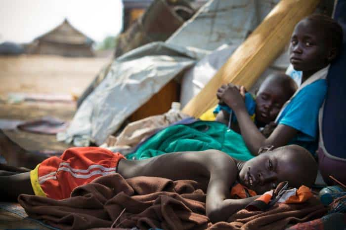Children who were displaced by fighting in Bor in December. Kate Holt.