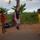 Katy Perry joins young girls jumping rope on a visit to a primary school that has been rebuilt by UNICEF. Kate Holt.
