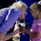 Quentin Bryce AC, Governor General of Australia, presents a small girl with a toy Koala bears. Kate Holt.