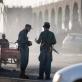 Afghan National Police man a checkpoint in Kandahar. Kate Holt.