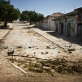 An empty road leading to the frontline in Mogadishu. Buildings along the route have been abandoned. Kate Holt.