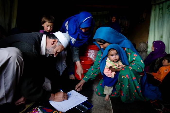 Community members participate in a WASH (Water Sanitation and Hygiene) meeting in the village of Talaqul, Bamyan, Afghanistan, on the 19th October, 2011.