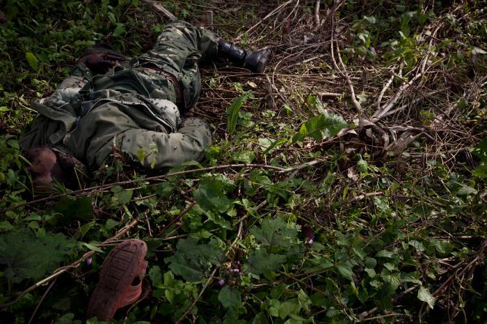 A Congolese Government soldier, killed in recent fighting between rebel M23 soldiers and Congolese Government soldiers. Kate Holt.