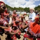 Traditional dancers perform for the Governor General of Australia, upon her arrival at the airport in Nairobi. Kate Holt.