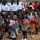 Traditional dancers perform outside of All Saint's Cathedral after the enthronement of the new Archbishop. Kate Holt.
