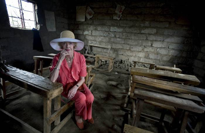 Quentin Bryce, Governor General of Australia, looks at a dilapidated classroom. Kate Holt.