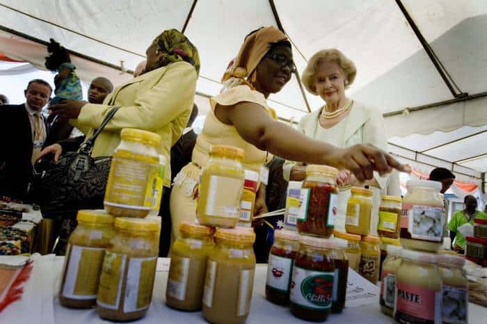 Quentin Bryce, Governor General of Australia admires homemade jam at a display put on of handicrafts. Kate Holt.