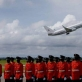 The official plane of the Governor General of Australia, Quentin Bryce, takes off. Kate Holt.