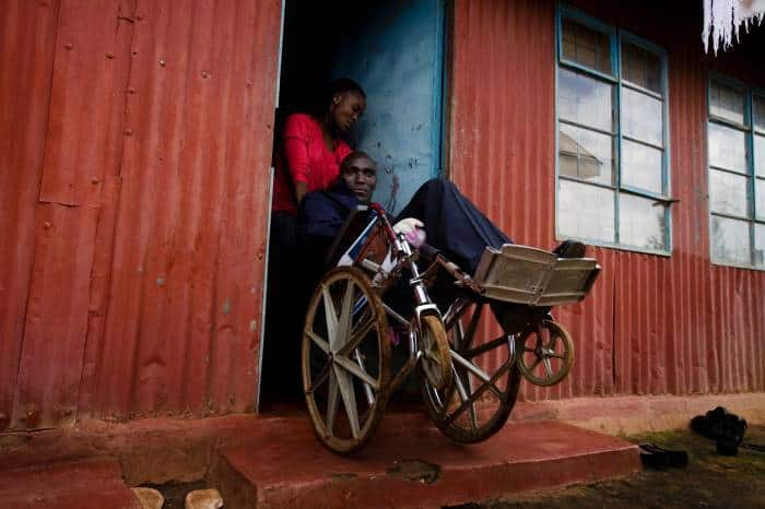 James Areja, who was made disabled after the bus he was travelling in crashed. Kate Holt.