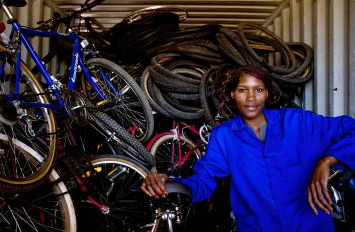 A member of Ben's Bikes, an NGO set up by an Australian to assist women who were prostitutes find jobs. Kate Holt.