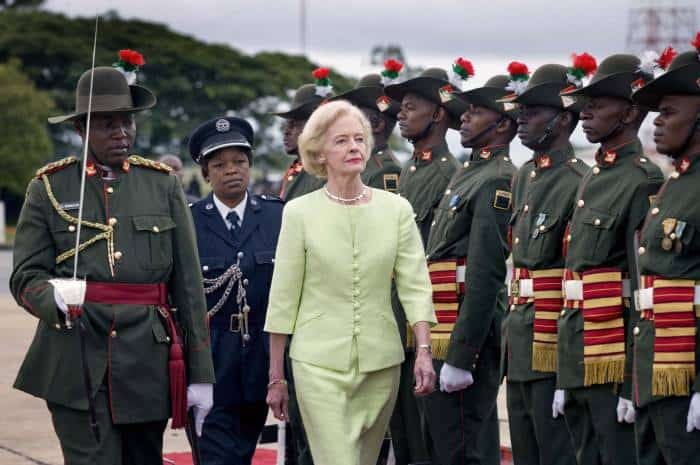 Quentin Bryce AC, Governor General of Australia, inspects the Guard of Honour before her departure from Lusaka. Kate Holt.