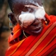 Mooltetiein Salaash, 65 years old, waits to have her bandages removed after undergoing Trachoma Surgery. Kate Holt.