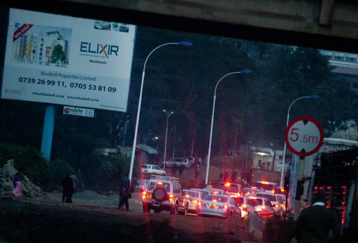 Traffic builds up on Nairobi's congested roads in the evening on the 31st July, 2012. Kate Holt.