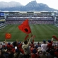 Fans cheer, with Table Mountain in the background, as Manchester United score. Kate Holt.