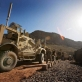 MRAPS, the new armored vehicles for the US army, line up at the base. Kate Holt.