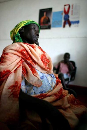 A woman waits for her HIV test results in the only VCT center in South Sudan. Kate Holt.