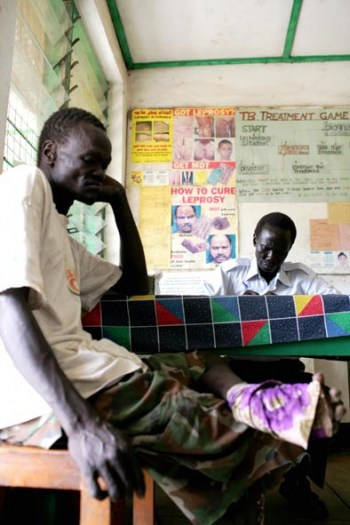 A man in the leprosy consultation room of Juba teaching hospital. Kate Holt.