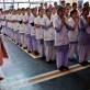 Trainee nurses attend early morning prayers at the nursing college in Dehradun that receives technical support from MCHIP. Kate Holt.