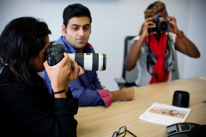 Actors stage a working environment in the new Aga Khan School of Media in the Nine West Building in Aga Khan Media School Nairobi, Kenya Friday, Oct. 24, 2014. (Kate Holt Photo/)