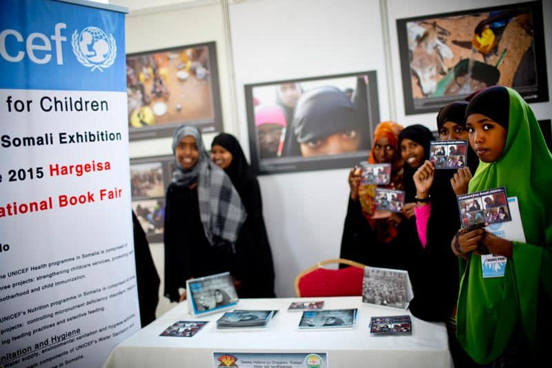 Children take part in a photography workshop organised as part of the Hargeisa Book Fair in Hargeisa, Somalia Saturday, Aug. 1, 2015. ( Photo/KATE HOLT)